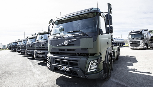 The first Volvo FMX trucks delivered to the Estonian Defence Forces