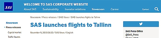 image: SAS will fly to Tallinn from Stockholm, Oslo, and Copenhagen